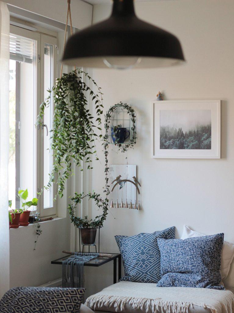 kasveja maalausten ja julisteiden kanssa