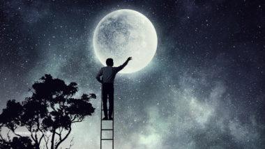 Mann steht auf einer Leiter und schaut auf den Mond