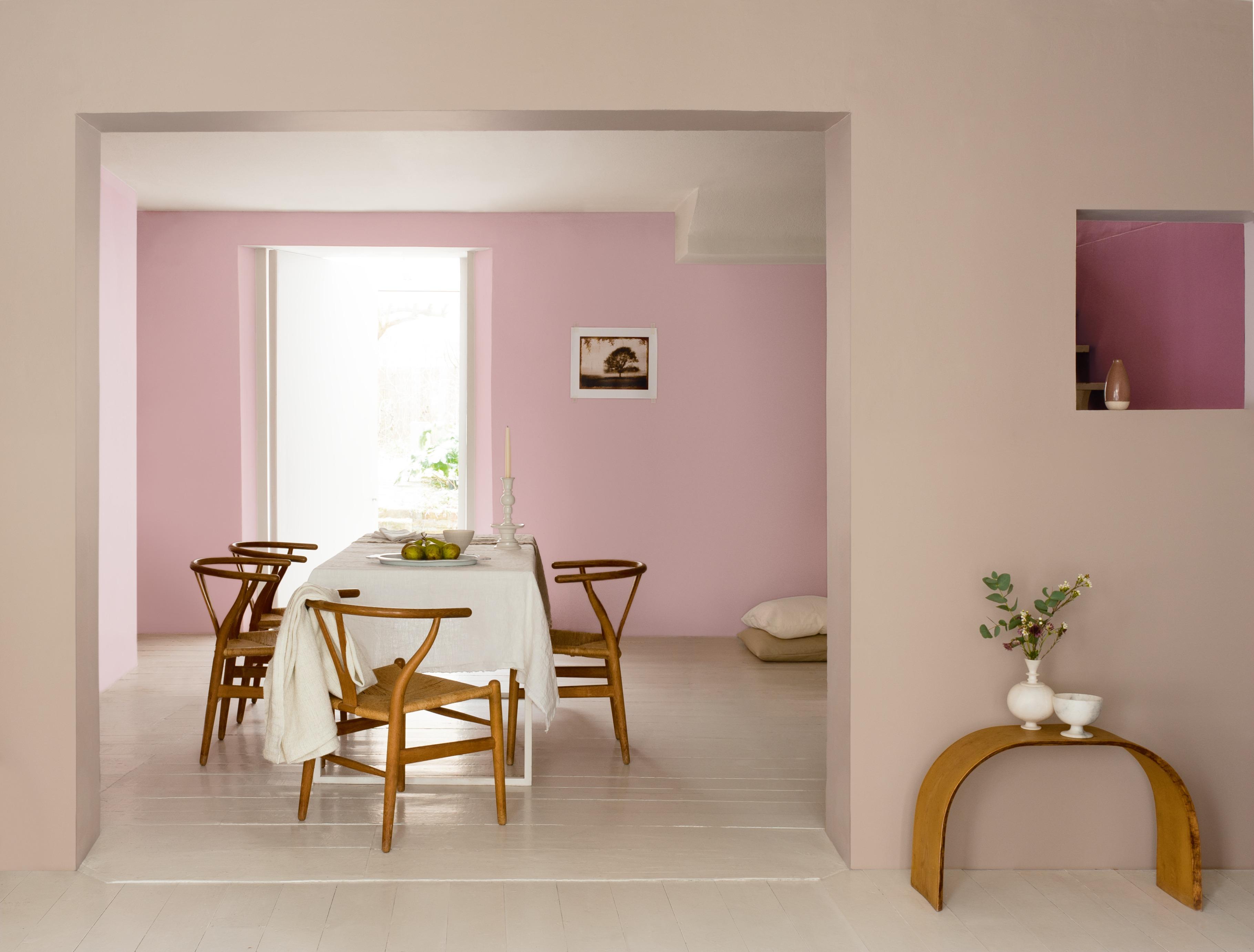 Wohnzimmer-Rosa-Stühle-Tisch-Esstisch-Pastell-Holz - Miss Made It