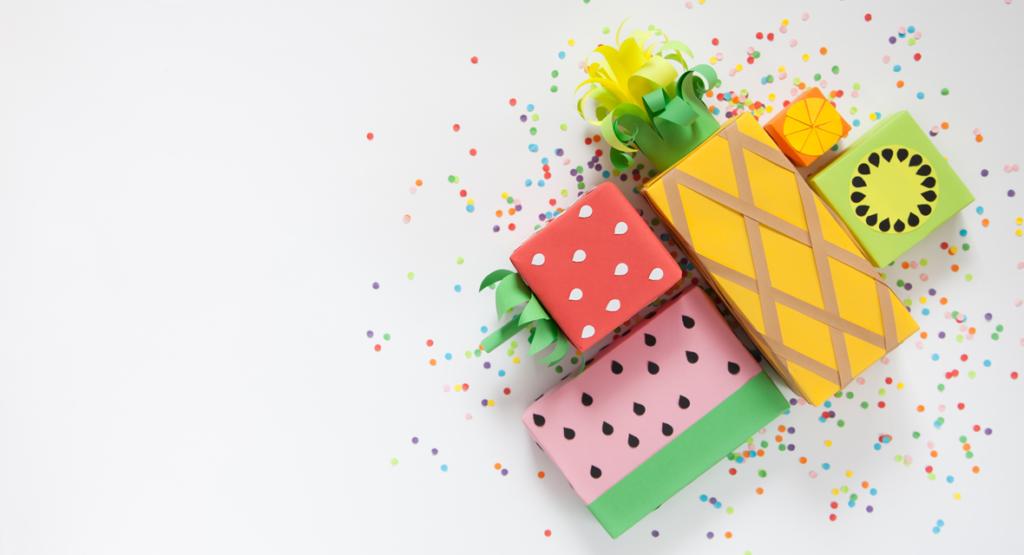 Früchte Geschenkverpackung basteln aus Tonpapier