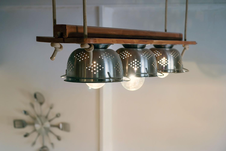 Upcycling Lampe aus Küchensieb