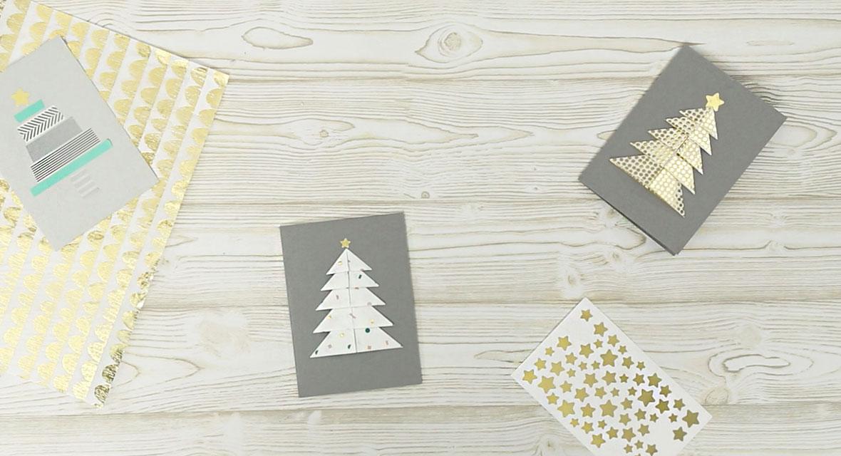 weihnachtskarten basteln papier aufkleber tannenbaum. Black Bedroom Furniture Sets. Home Design Ideas