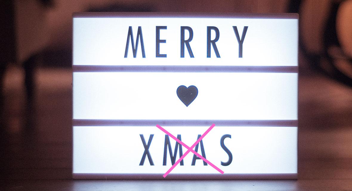 Lightbox mit Schriftzug Merry Xmas