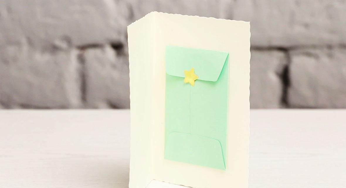Geldkarte basteln mit Briefumschlag aus Tonpapier