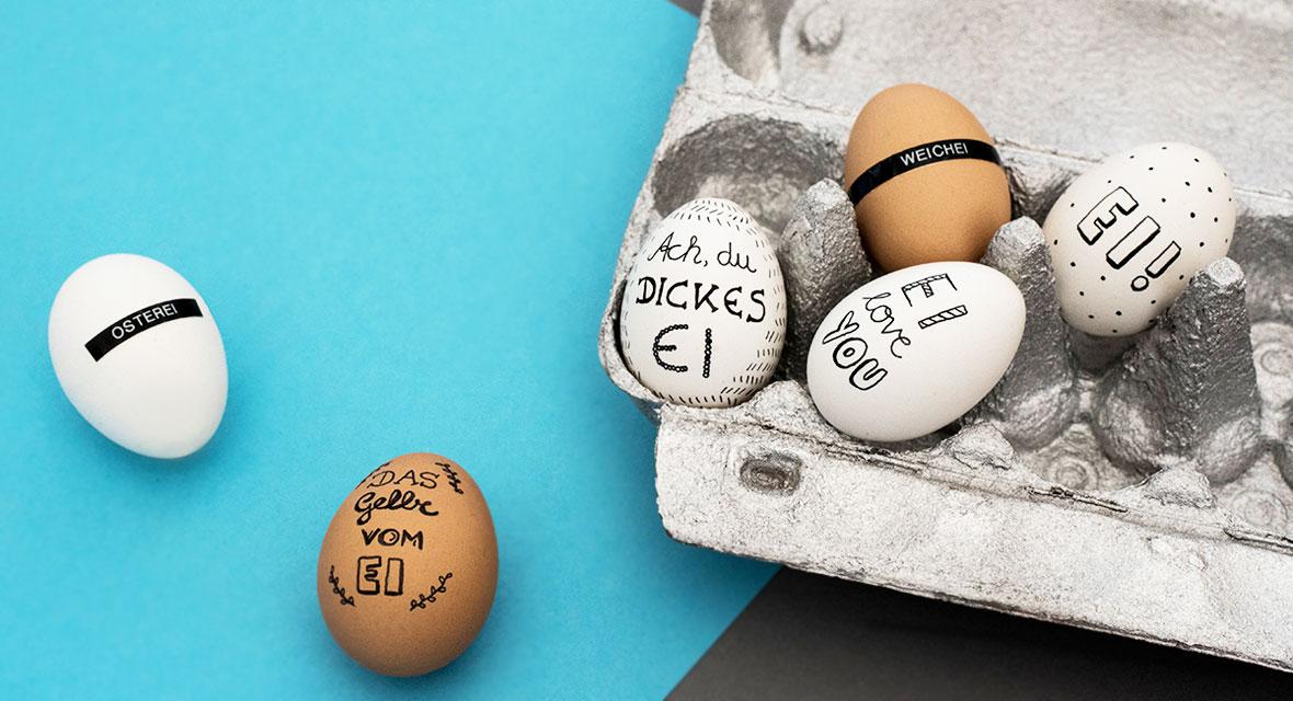Ostereier gestalten mit Handlettering