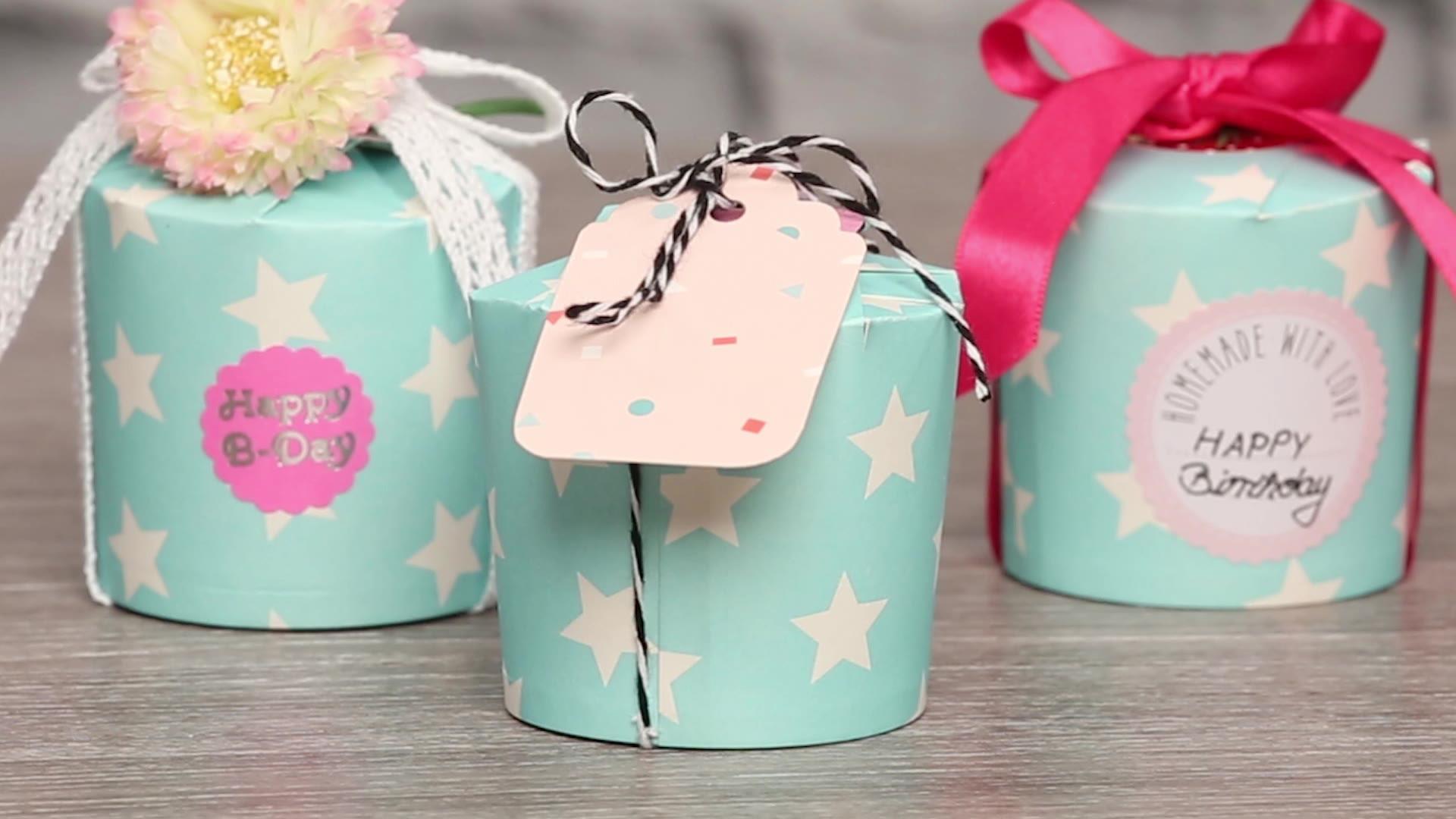 Geschenkbox basteln aus Pappbechern