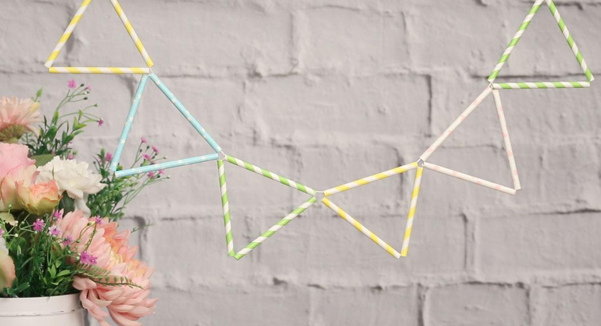 DIY Girlande aus Strohhalmen basteln