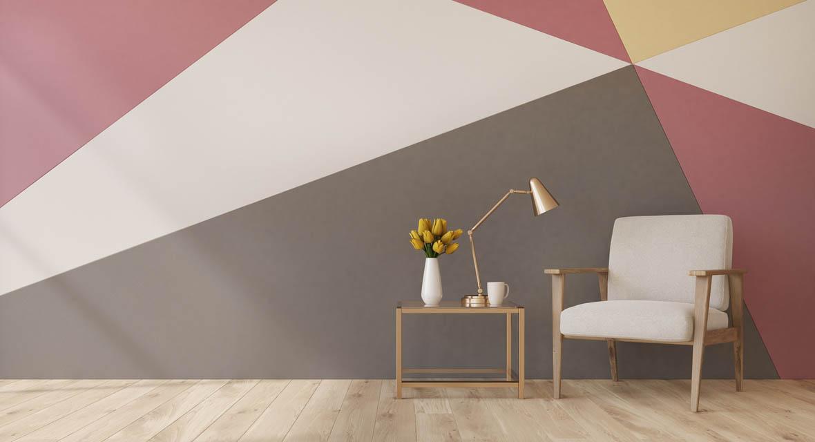 Dreiecksformen liegen um Trend und erzeugen eine dynamische Wirkung.