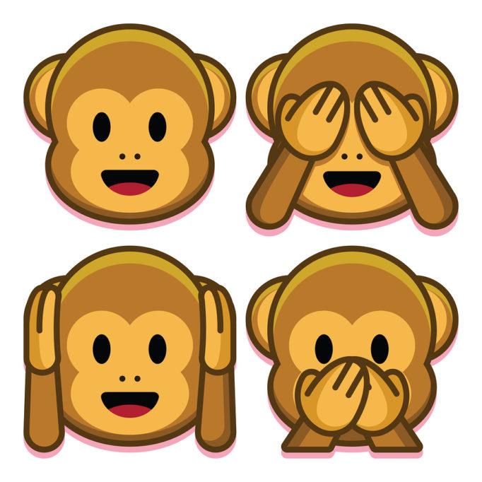 Emojis: Affen halten sich Augen, Ohren und Mund zu.