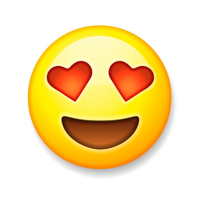 Emoji hat rote Herzen in den Augen.