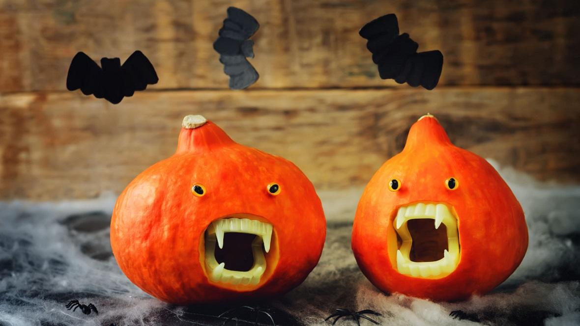 Halloweenkürbis mit Vampirzähnen