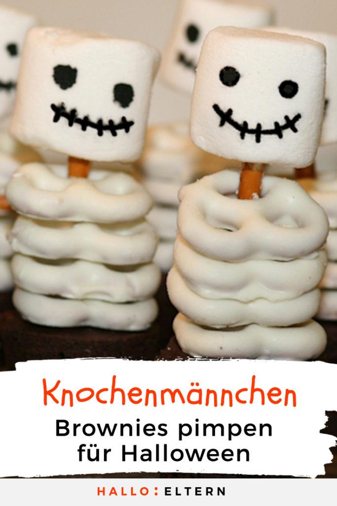 Halloween Essen Knochenmännchen aus Brownies