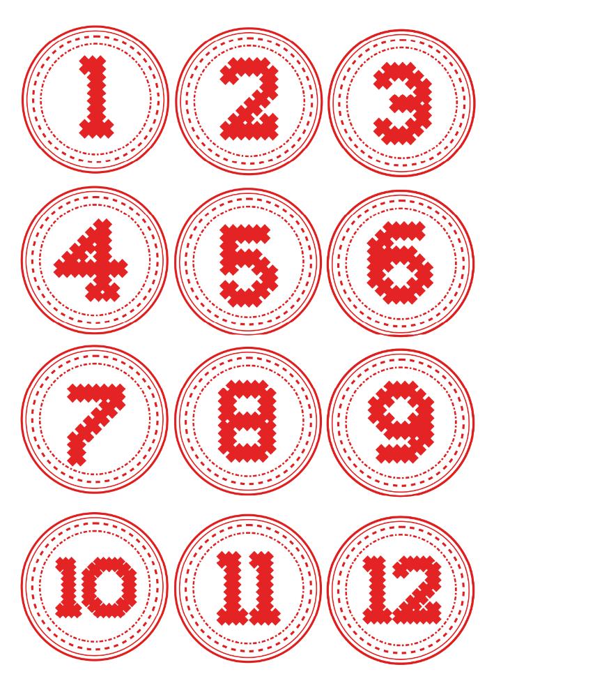 Stylische Adventskalender Zahlen Vorlagen Zum Ausdrucken