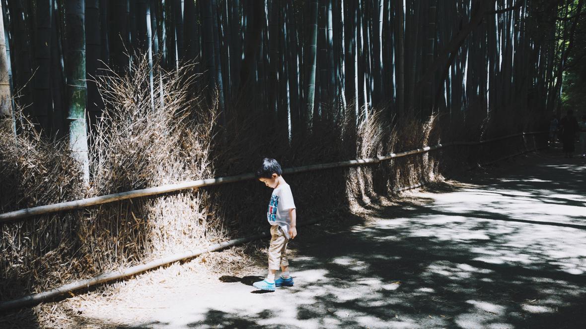 Kleines Kind steht im Wald