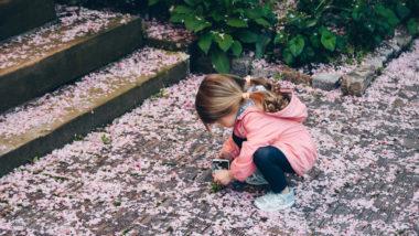 Kleines Mädchen sitzt auf dem Boden und schaut sich Blumenblätter an