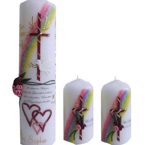 Taufkerze 250x60 M/ädchen Junge Lebensbaum Mit NAMEN und DATUM pink lila gold Alle Farben m/öglich ITP101