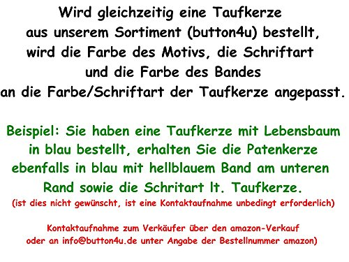 Button4u Patenkerze 13070mm Lebensbaum Taufe Diverse Farben