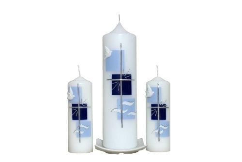 Kreuz Wasser Taufkerze Taube Bei uns bekommen sie keine Massenware 25x7cm mit hellblau//Enzian ist ein Unikat. wird NUR auf Kundenwunsch f/ür Sie gefertigt Jede Kerze f/ür sich