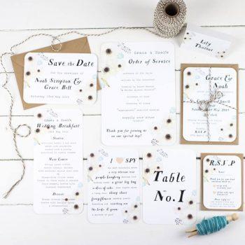 Hochzeitspapeterie floral Design reduziert und schlicht