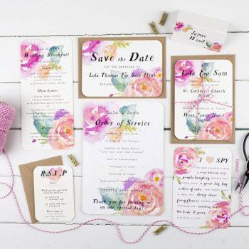 Hochzeitspapeterie Flower-Power bunt und fröhlich mit Batik-Style