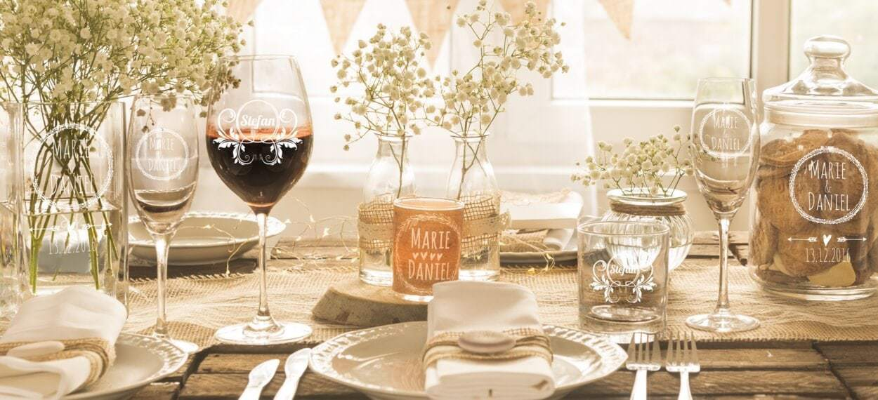 Personalisierte Hochzeitsdeko Und Gastgeschenke Im Rustical Boho Stil