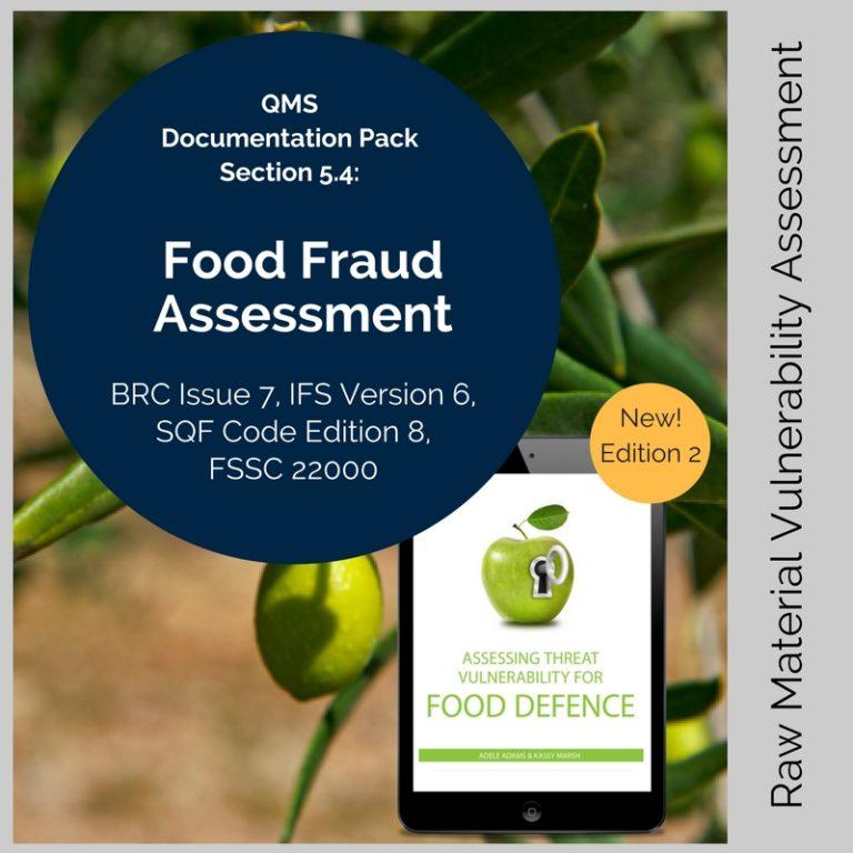 food fraud vulnerability template