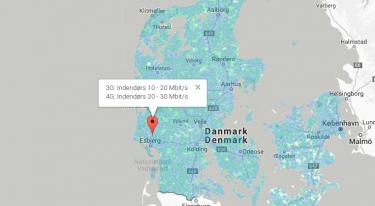 Kort der viser hvilken mobildækning de danske teleselskaber har
