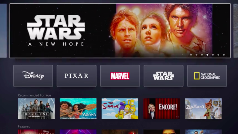 Disney+ interface