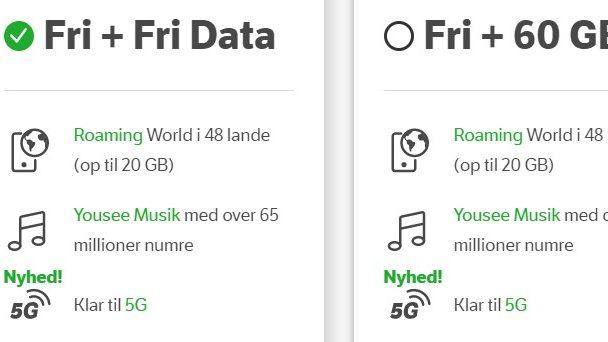 5G virker ikke med alle abonnementer hos YouSee og Telmore