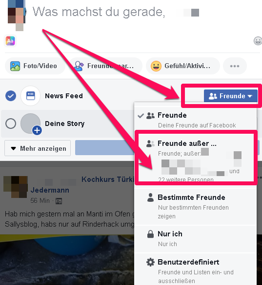 Facebook Funktionen verstecken