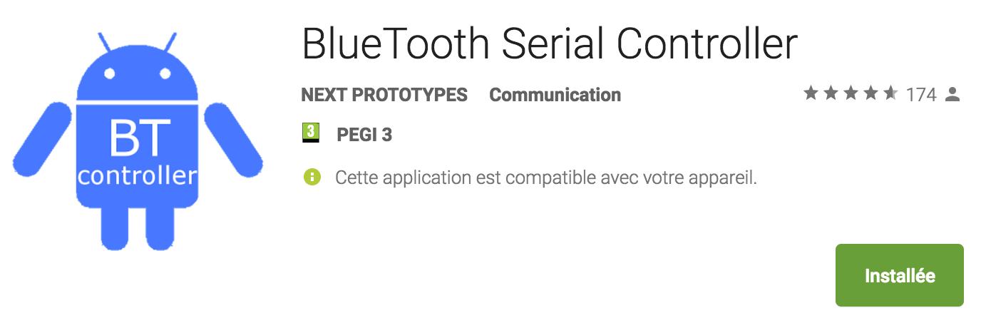 "photo de l'application ""bluetooth serial controller"""