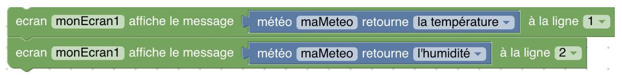 écran affiche les deux informations de la météo