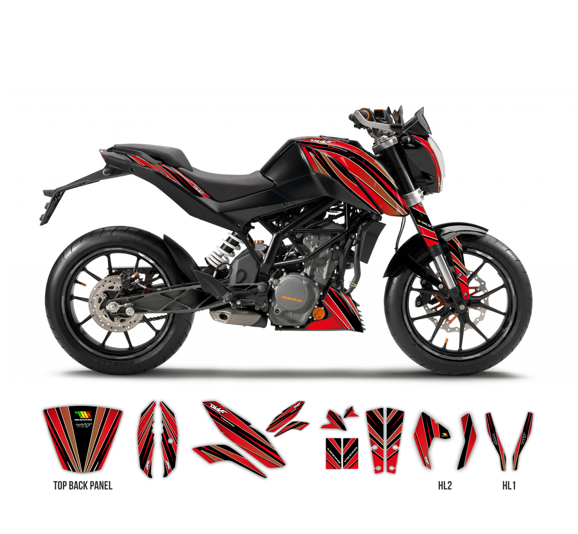 ktm duke 125 390 striped graphics series black tmx graphics. Black Bedroom Furniture Sets. Home Design Ideas