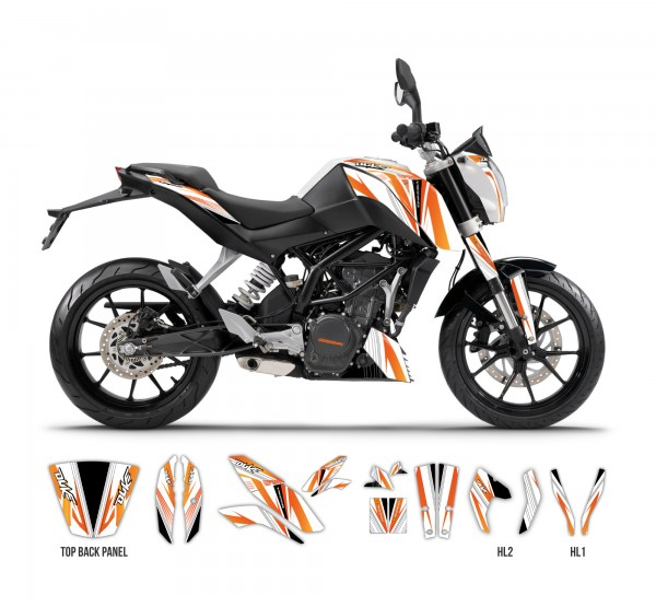 ktm duke 125-390 - the one graphics series (white) | tmx graphics