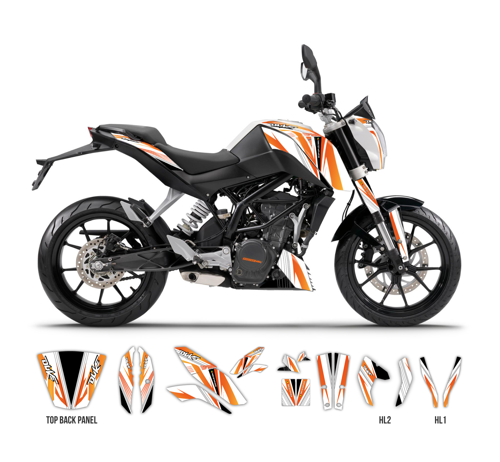 ktm duke 125 390 the one graphics series white tmx graphics. Black Bedroom Furniture Sets. Home Design Ideas