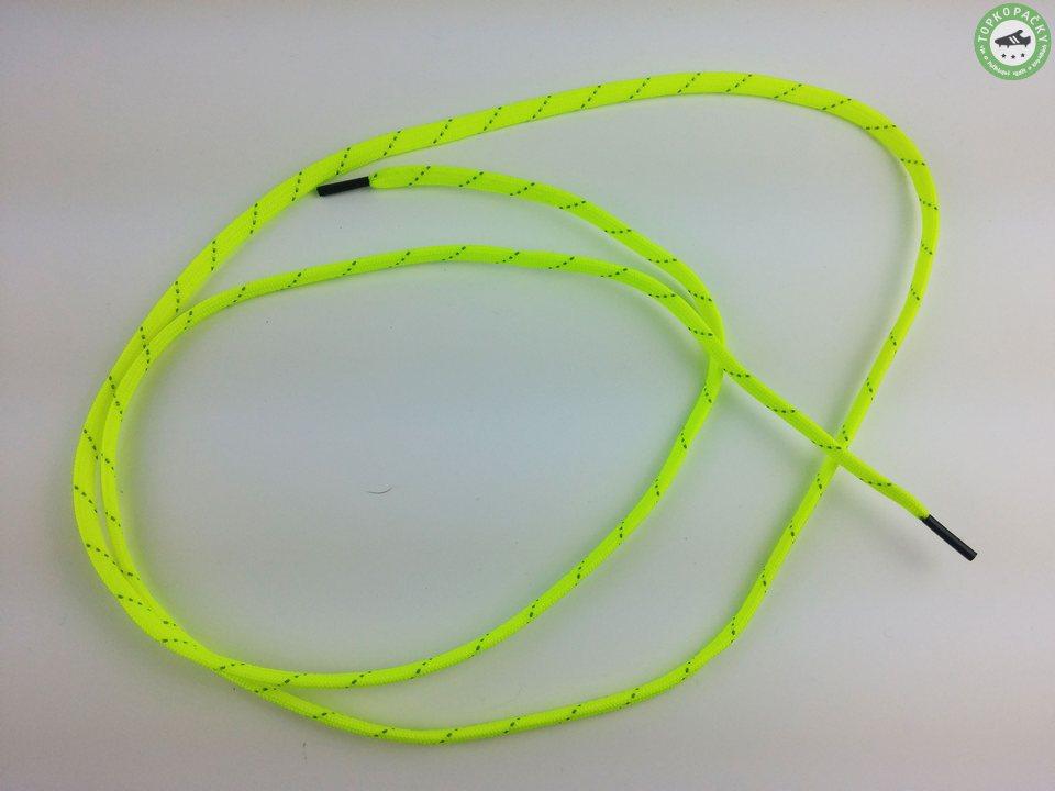 Tkaničky do kopaček žluté s reflexním páskem
