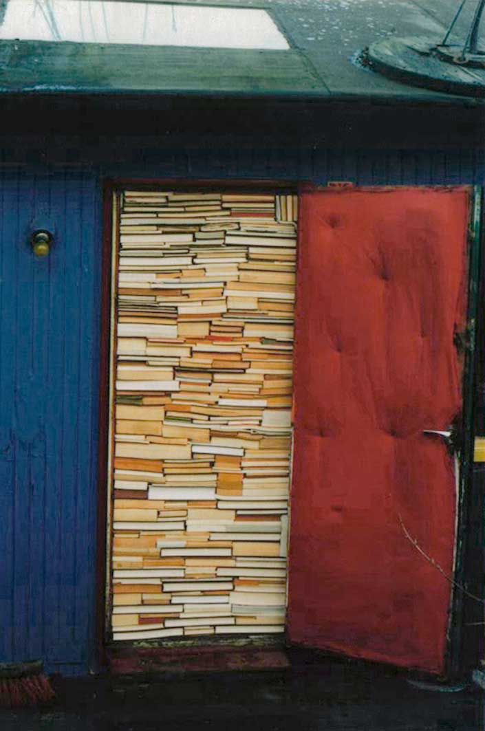 Door stuffed with books