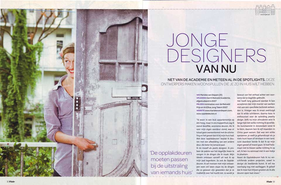 An article in Flair, a Dutch magazine, about new young designers