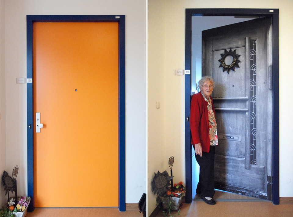 Before and after at the Pieter van Foreest Weidevogelhof nursing home for Mrs. Arkensteijn