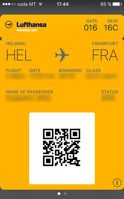 Mobiili Boarding Pass Wallet Applikaatiossa