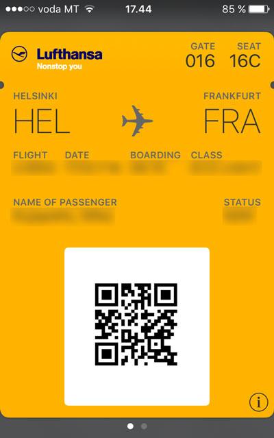 Mobiili Boarding Pass Wallet Applikaatiossa