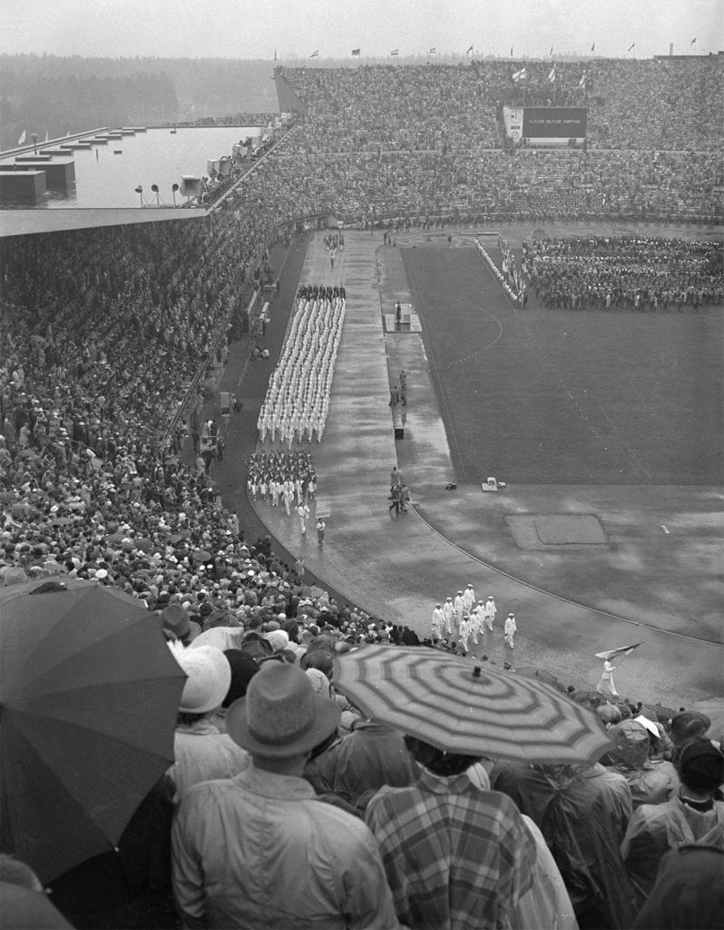The opening ceremony of the Helsinki Games on 19 July 1952.
