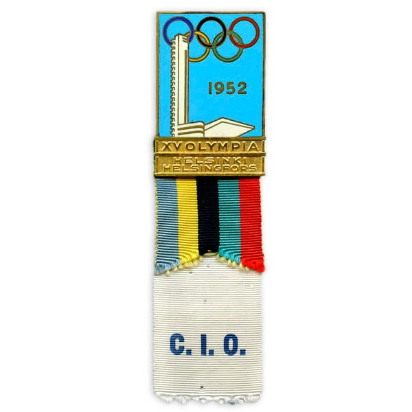 Helsinki Olympic Games 1952 IOC badge The Sports Museum of Finland