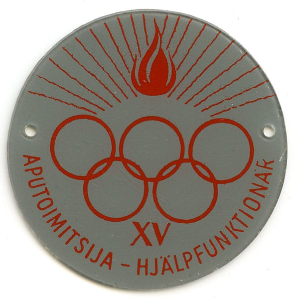Helsinki Olympic Games 1952 Olympic badge The Sports Museum of Finland