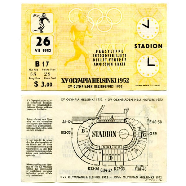 Helsinki Olympic Games 1952 Admission ticket athletics The Sports Museum of Finland