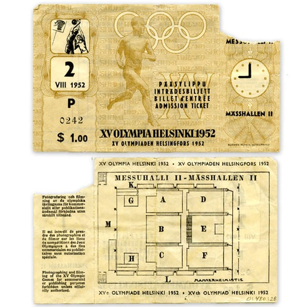 Helsinki Olympic Games 1952 Admission ticket (basketball) The Sports Museum of Finland
