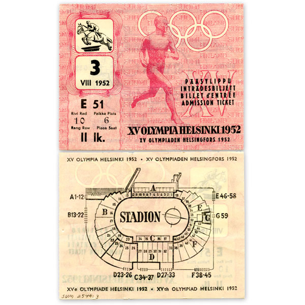 Helsinki Olympic Games 1952 Admission ticket (equestrian showjumping) The Sports Museum of Finland
