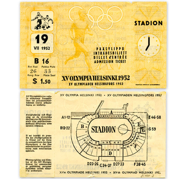 Helsinki Olympic Games 1952 Admission ticket (football) The Sports Museum of Finland