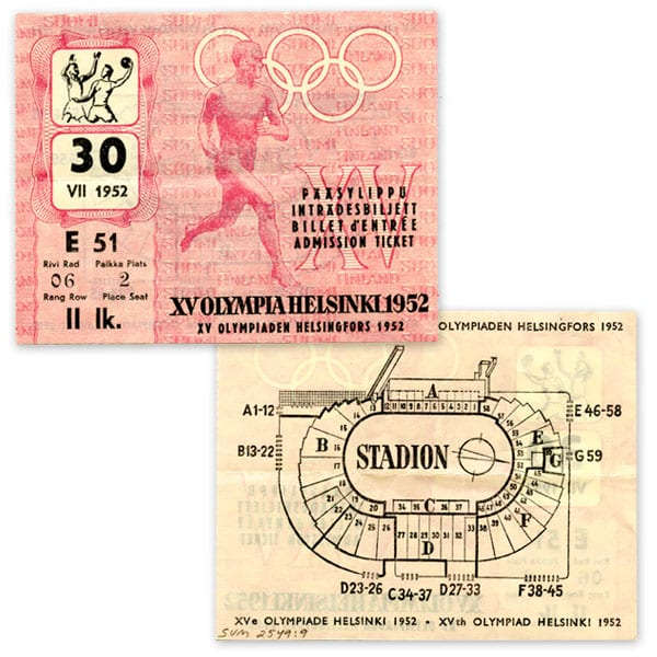 Helsinki Olympic Games 1952 Admission ticket handball The Sports Museum of Finland