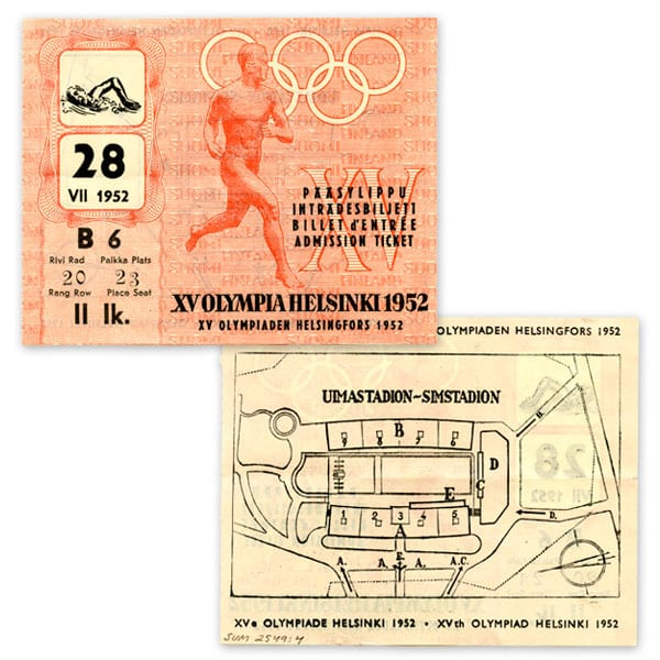 Helsinki Olympic Games 1952 Admission ticket (swimming) The Sports Museum of Finland